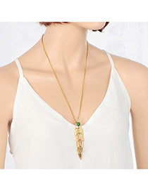 Vintage Gold Color Stitching Feathers Pendant Decorated Simple Necklace