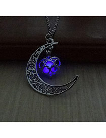 Fashion Purple Hollow Out Moon Pendant Decorated Simple Necklace