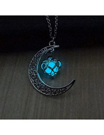 Fashion Light Blue Hollow Out Moon Pendant Decorated Simple Necklace