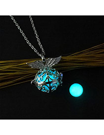 Fashion Blue Hollow Out Round Shape Pendant Decorated Necklace