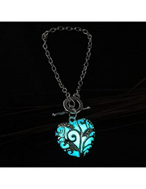 Fashion Blue Leaf Shape Decorated Heart Shape Design Bracelet