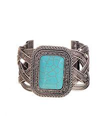 Elegant Silver Color Square Gemstone Decorated Opening Design Bracelet