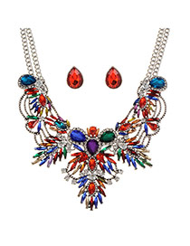 Exaggerated Multi-color Hollow Out Geometric Shape Decorated Simple Jewelry Sets