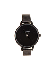 Fashion Black Spiral Lines Decorated Round Shape Dial Plate Design Watch