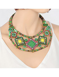 Vintage Green Hollow Out Square Gemstone Decorated Simple Necklace