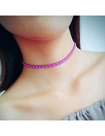 Vintage Purple Rivet Shape Decorated Simple Pure Color Choker