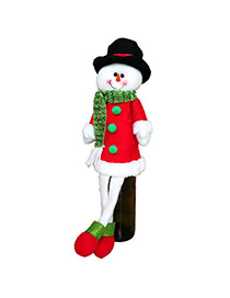 Lovely Red+white Square Shape Hasp Decorated Christmas Snowman Shape Wine Cooler