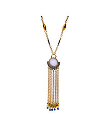 Fashion Antique Gold Long Tassel&round Ball Pendant Decorated Simple Necklace