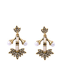 Fashion Gold Color Pearls&diamond Decorated Leaf Shape Earrings