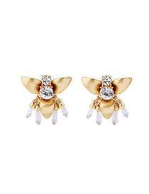 Fashion Gold Color Round Shape Diamond Decorated Insect Shape Earrings