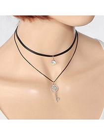 Fashion Silver Color Key&round Shape Diamond Pendant Decorated Double Layer Choker