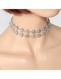 Fashion Silver Color Hollow Out Flower Decorated Double Layer Pure Color Choker