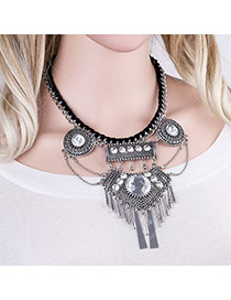 Exaggerated Antique Silver Vertical Shape Pendant Decorated Irregular Shape Necklace