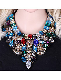 Exaggerated Multi-color Water Drop Shape Diamond Decorated Flower Shape Collar Necklace