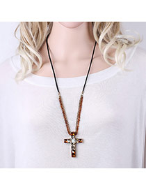 Personalized Champagne Cross Pendant Decorated Simple Long Necklace
