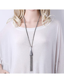 Fashion Silver Color Long Tassel Pendant Decorated Pure Color Simple Necklace
