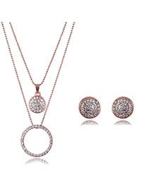 Elegant Rose Gold Round Shape Pendant Decorated Full Diamond Design Jewelry Sets