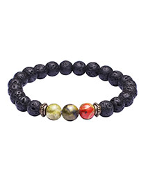 Fashion Black+green Color Matching Design Simple Buddha Beads Bracelet