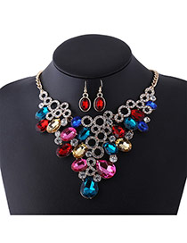 Fashion Multi-color Oval Shape Diamond Decorated Hollow Out Design Jewelry Sets