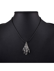 Fashion Silver Color+black Bones Of Hand Pendant Decorated Simple Necklace