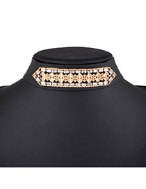 Fashion Gold Color Diamond Decorated Hollow Out Design Wide Choker