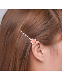 Fashion Rose Gold Flower Decorated Pure Color Design Hair Clip