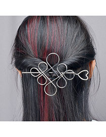 Fashion Silver Color Chinese Knot Design Pure Color Simple Hairpin