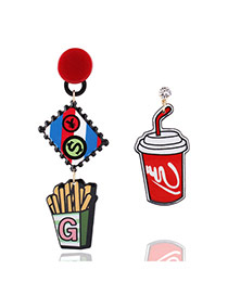 Fashion Multi-color Chips&coke Pendant Decorated Simple Earrings