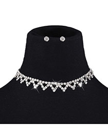 Retro Silver Color Diamond Shape Decorated Short Chain Simple Jewelry Sets