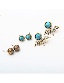 Fashion Green+gold Color Round Shape Gemstone Decorated Bat Shape Earrings (3pcs)