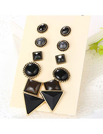 Trendy Antique Gold+black Gemstone Decorated Irregular Shape Earrings (6pcs)