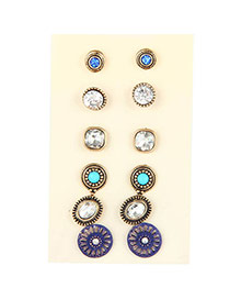 Trendy Antique Gold+white Diamond Decorated Flower Shape Simple Earrings (6pcs)