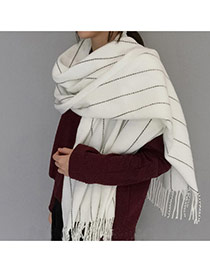 Fashion White Imaginary Line Pattern Decorated Tassel Design Simple Scarf