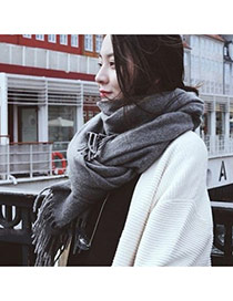 Fashion Gray Tassel Decorated Pure Color Design Simple Scarf