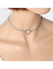 Fashion Silver Color Hollow Out Round Shape Decorated Double Layer Pure Color Choker