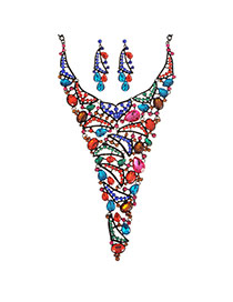 Elegant Multi-color Oval Shape Gemstone Decotrated Hollow Out Necklace