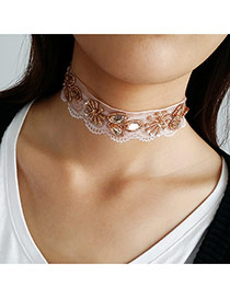 Fashion Multi-color Pearls&flower Decorated Short Chian Choker