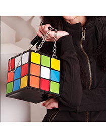 Personality Multi-color Suare Shape Magic Cube Design Simple Handbag