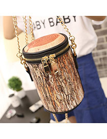 Personality Yellow Wood Grain Pattern Decorated Simple Bucket Bag