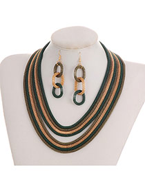 Fashion Green+gold Color Color-matching Decorated Short Chain Jewelry Sets
