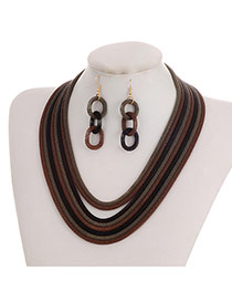 Fashion Brown+black Color-matching Decorated Short Chain Jewelry Sets