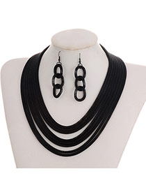 Fashion Black Color-matching Decorated Short Chain Jewelry Sets