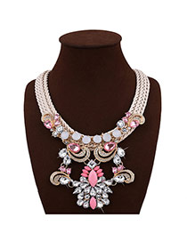 Exaggerate Yellow Geometric Shape Diamond Decorated Hand-woven Short Chain Necklace