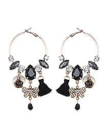 Bohemia Black Butterfly&tassel Pendnat Decorated Simple Round Shape Earrings