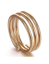 Fashion Gold Color Pure Color Design Simple Multilayer Ring