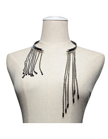 Exaggerate Gun Black Long Tassel Pendant Decorated Opening Becklace