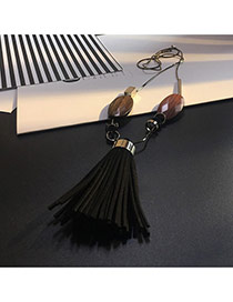 Tassel Black Big Tassel Pendant Decorated Simple Sweater Necklace