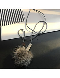 Fashion Gray Fuzzy Ball Pendant Decorated Simple Necklace