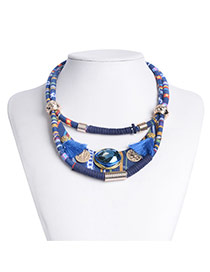 Vintage Blue Oval Gemstone&tassel Decorated Double Layer Necklace