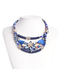 Vintage Blue Flower Shape&tassel Decorated Double Layer Necklace
